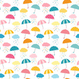 Cute and colorful vector umbrella seamless pattern with clouds and rain for kids clothing and paper products