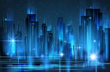 Illuminated night city skyline , vector illustration - 178013011
