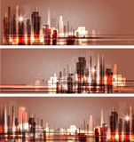 Night city skyline, vector illustration - 178013459
