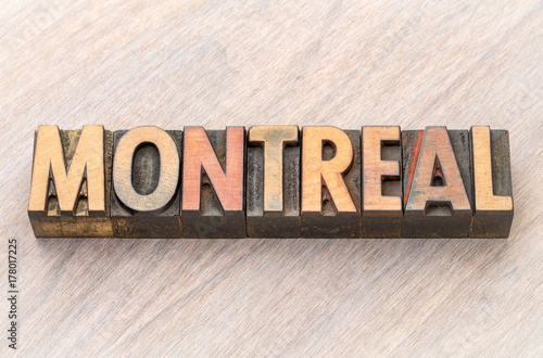 Fotobehang Canada Montreal word abstract in wood type