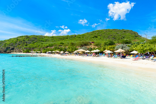 Fotobehang Turkoois Porto Marie beach - white sand Beach with blue sky and crystal clear blue water in Curacao, Netherlands Antilles, a Caribbean Island