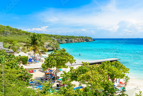 Fotobehang Eilanden Porto Marie beach - white sand Beach with blue sky and crystal clear blue water in Curacao, Netherlands Antilles, a Caribbean Island