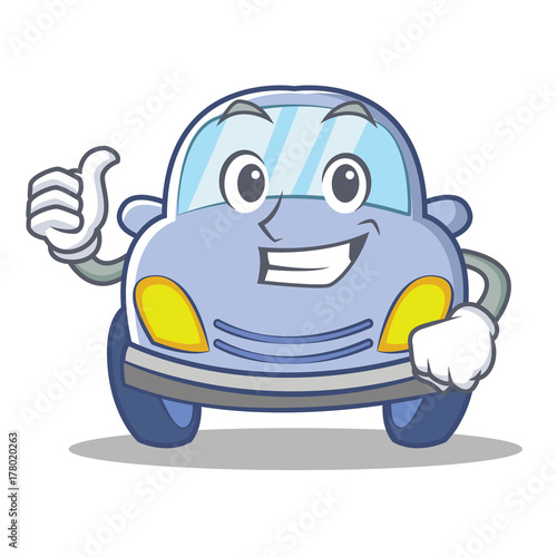 Plexiglas Auto Thumbs up cute car character cartoon