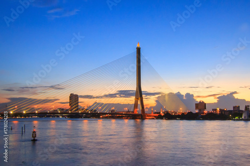 Big Suspension bridge in Sunset time / Rama 8 bridge in sunset time Poster