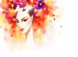 Beautiful woman and flowers. fashion illustration - 178024841
