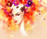 Beautiful woman and flowers. fashion illustration - 178024851