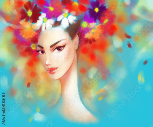 Fotobehang Anna I. Beautiful woman and flowers. fashion illustration