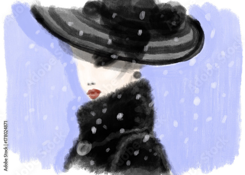 Fotobehang Anna I. Abstract woman in coat. fashion illustration