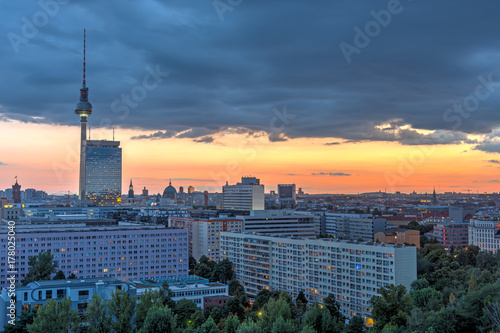 Dramatic sunset in Berlin, Germany, with the famous Television Tower Poster