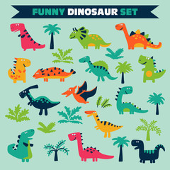 Adorable set with funny dinosaurs in cartoon