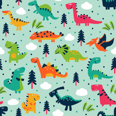 Adorable seamless pattern with funny dinosaurs in cartoon. Seamless pattern can be used for wallpapers, pattern fills, web page backgrounds,surface textures © cristinn