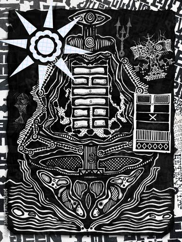 Staande foto Imagination Disegno con nave etnica stilizzata,simboli esoterici e I king