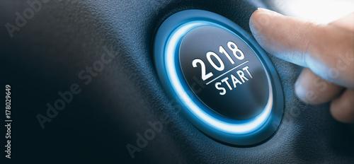 Fototapeta 2018 Car Start Button, Two Thousand Eighteen Background.