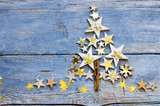 Merry Christmas: Background, decoration with stars on old blue wooden board :) - 178032462