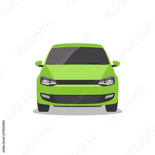 Wektor zielony samochód. Przedni widok.