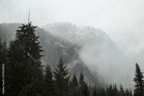 Mgłowa góra ze śniegiem