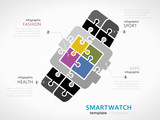 Technology infographic template with smartwatch symbol model made out of jigsaw pieces - 178035877