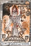 Collage e disegni con simboli e elementi etnici,esoterici e astrologici