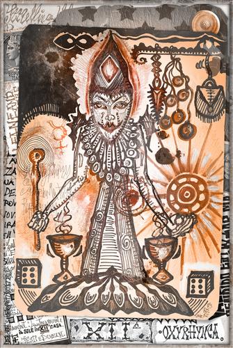 In de dag Imagination Collage e disegni con simboli e elementi etnici,esoterici e astrologici