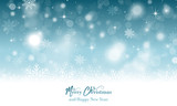 Merry Christmas and Happy New Year wishes with snowflakes. Vector illustration. - 178040298