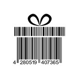 Icono plano codigo de barras regalo negro en fondo blanco - 178053409