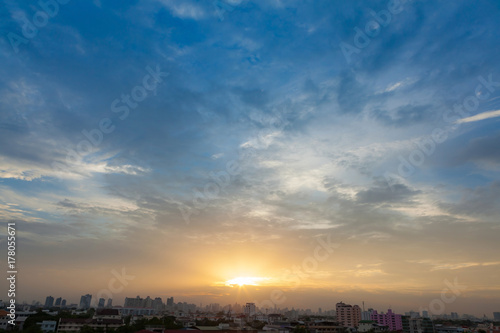Aerial view of dramatic sunset. Poster