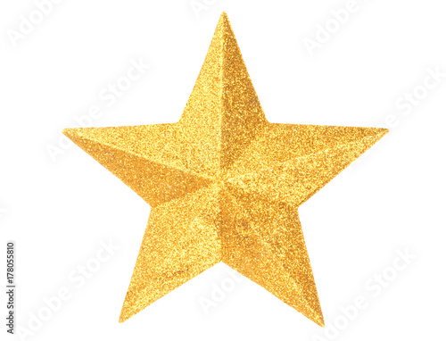 Gold Christmas star on white Poster