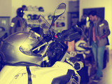 Photo of motobike with equipment in the  store. - 178056454