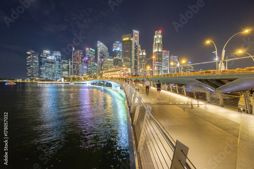 Singapore financial district ,travel location twilight time Poster