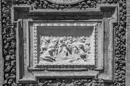 Ancient sculpture paintings on a fragment of the wall in the Villa Doria-Pamphil Poster