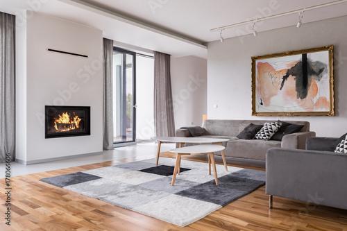 Papiers peints Kiev Living room with fireplace