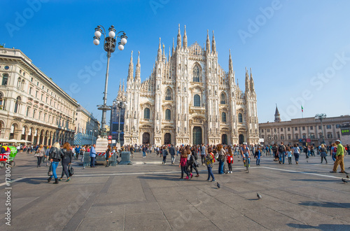 Foto op Canvas Milan MILAN, ITALY, OCTOBER 13, 2017 - View of famous Milan Cathedral (Duomo di Milano), Italy.