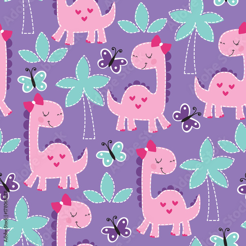 Cotton fabric seamless purple dinosaur animal pattern vector illustration