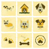 assembly flat shading style icons dog cats pets - 178068263