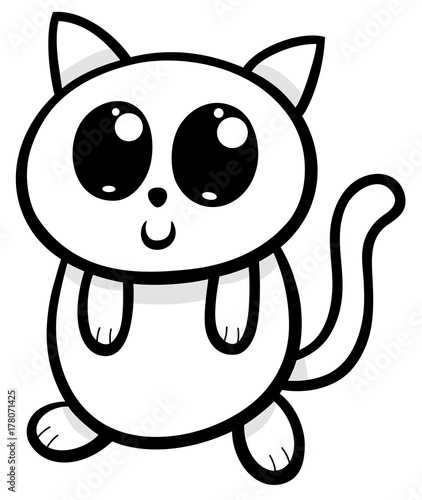 cartoon kawaii cat or kitten illustration - 178071425