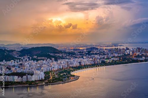 Sunset view of Copacabana, Corcovado and Botafogo in Rio de Janeiro Poster