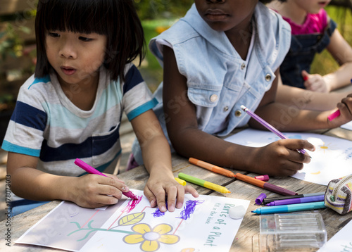 Children art drawing together Poster