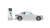 Electric car charging station vector illustration isolated, auto or automobile power charger