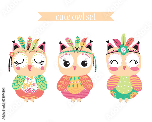 3 cute owl with feathers