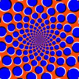 Blue circles on orange background optical illusion - 178075438