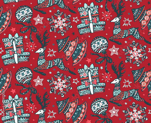 Cotton fabric Vector seamless pattern with presents, stars and Christmas trees