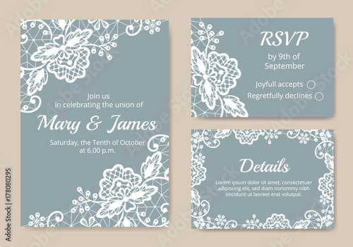 Set of wedding cards - 178080295