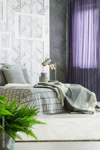 Papiers peints Kiev Purple drapes in modern bedroom