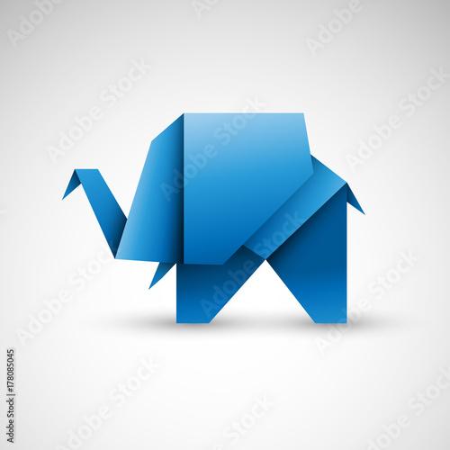 Poster słoń origami wektor