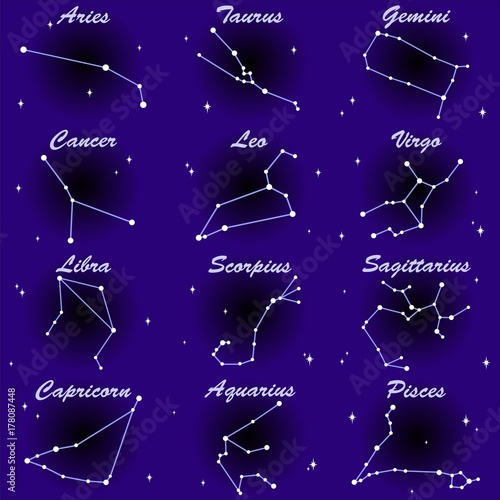 Foto op Plexiglas Draw Constellation Zodiac Astrological Signs