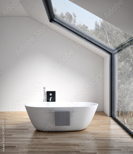 Modern bright bathroom, interiors. 3D rendering