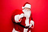 Holly jolly x mas festive noel miracles and magic time! Funny santa in headwear, costume, black belt, white gloves brings a lot of gifts for kids, ready, prepared, sale promotion concept - 178088614