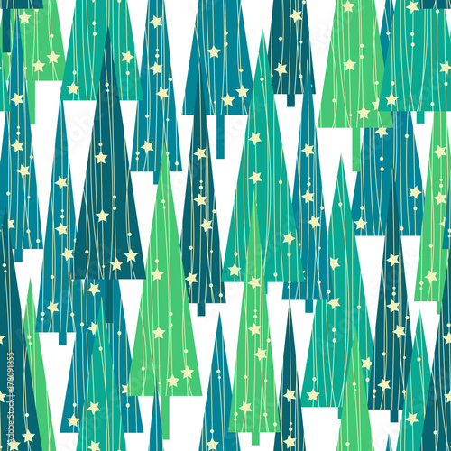 Cotton fabric Christmas trees pattern