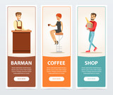 Barman, coffee, shop banners for advertising brochure, promotional leaflet poster, presentation flat vector elements for website or mobile app - 178092496
