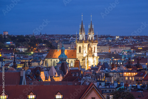 Prague, Czech Republic - October 6, 2017: Beautiful evening roof view on Tyn Church and  Old Town Square, Prague, Czech Republic Poster